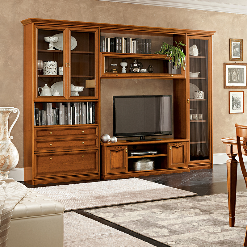 Natalia Walnut Shelving & TV Unit Composition 1