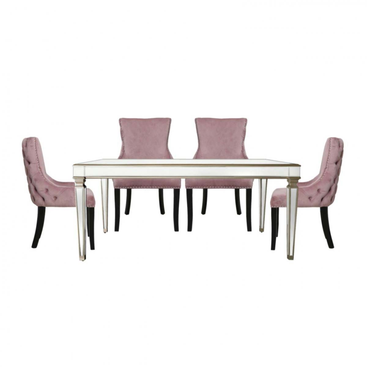 Andreas Champagne Trim Mirrored 5 Piece Set - Pink Chairs