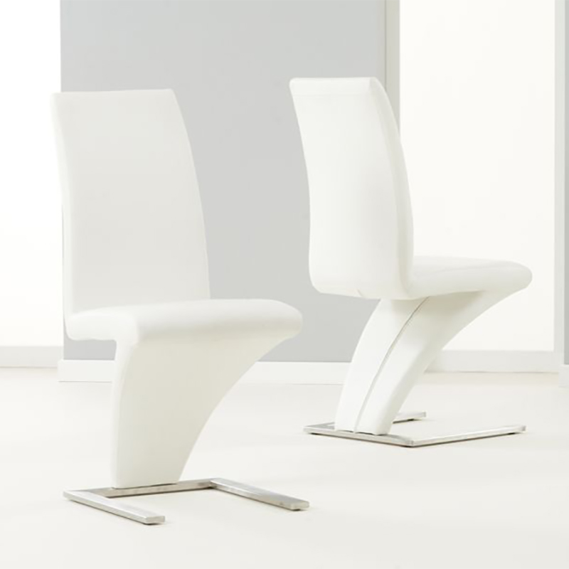 Hereford White Faux Leather & Chrome Z Chair