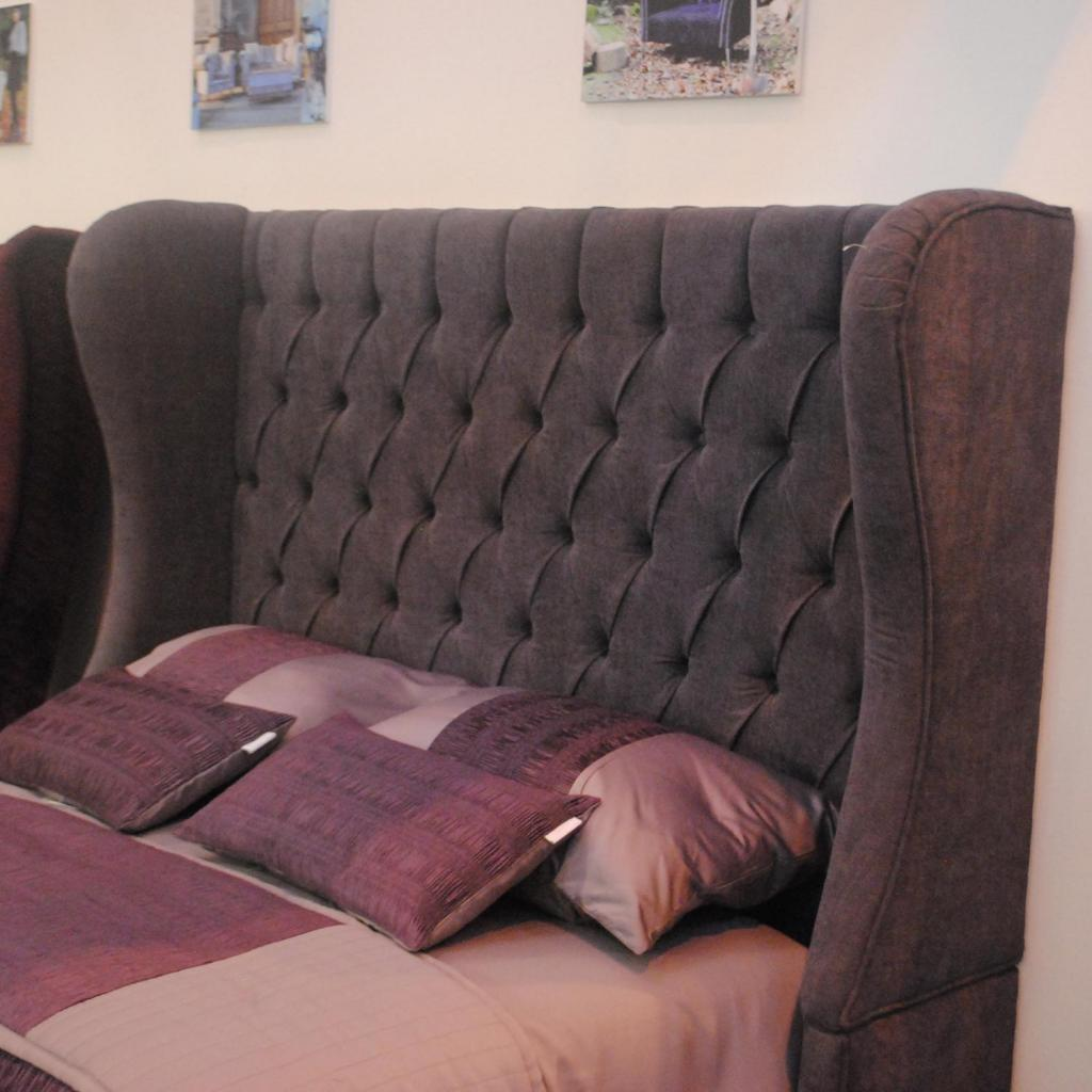 Bespoke Savoy Curved Crushed Velvet Headboard (Various Options)