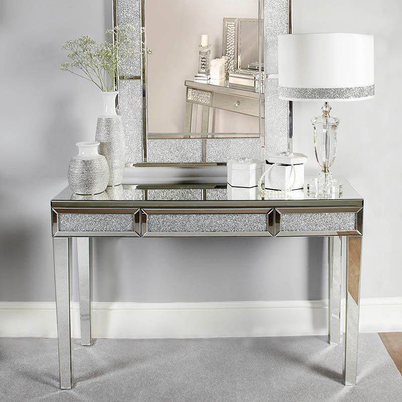 Madorra Mirrored Diamante Large Console Table