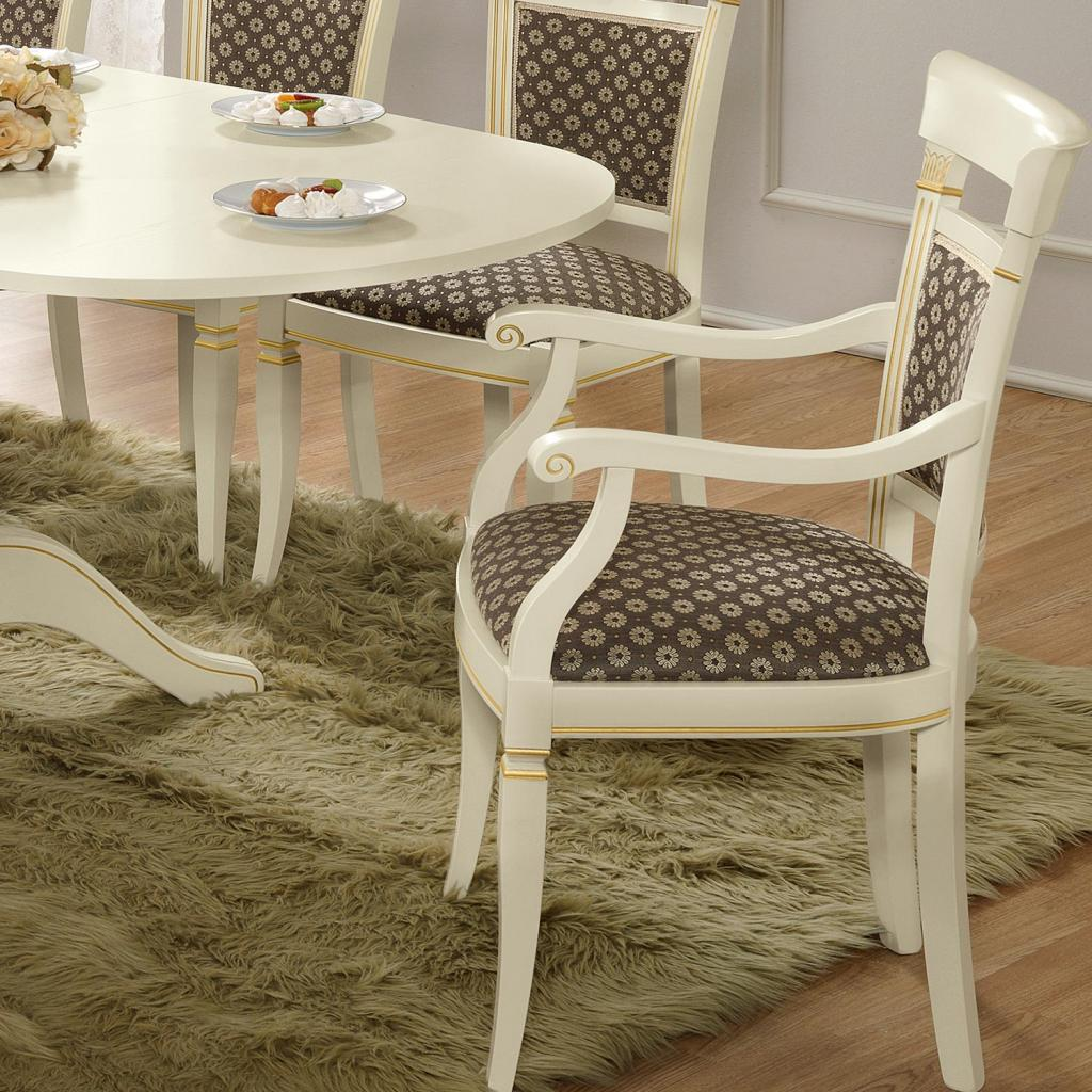 Treviso Ornate Ivory Ash Wood Carver Dining Chair