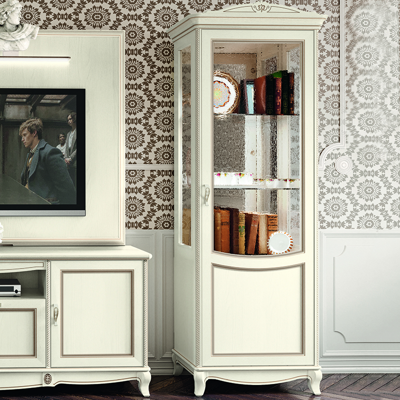 Fabrina Ivory Ash 1 Door Display Cabinet