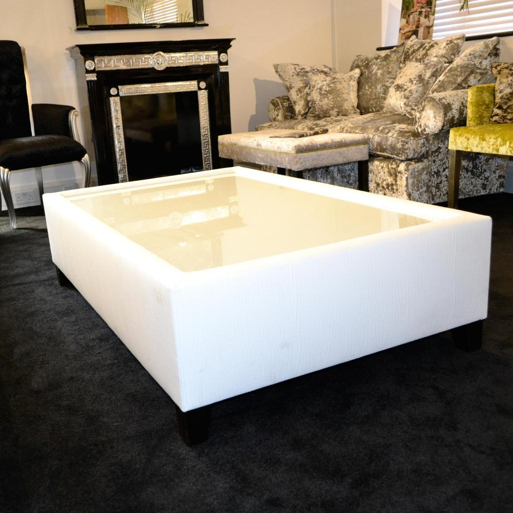 Bespoke Cream Faux Leather & Glass Coffee Table