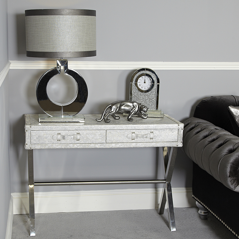 Silver Snakeskin Leather Effect 2 Drawer Console Table