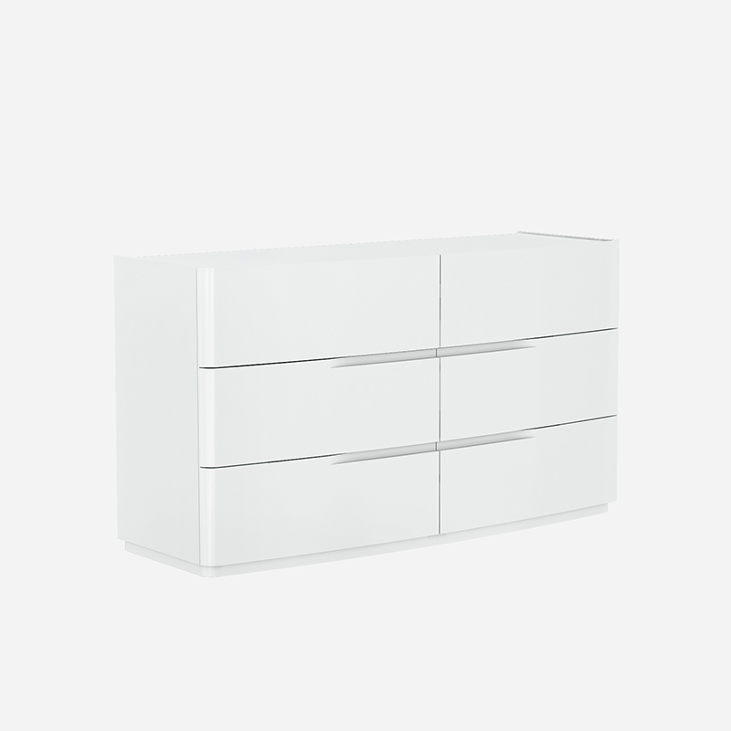 Elbas White High Gloss 6 Drawer Chest of Drawers