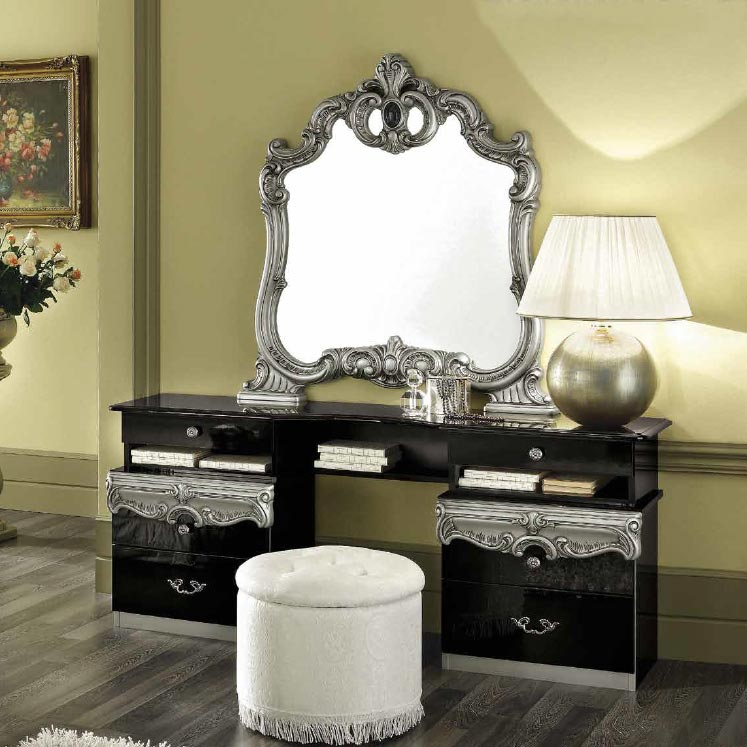 Bellissima Black High Gloss & Gold or Silver Dressing Table
