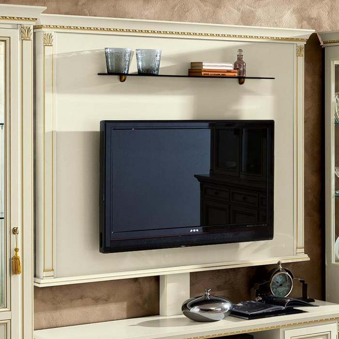 Treviso Ornate Ivory Ash Wood TV Wall Mount Plate