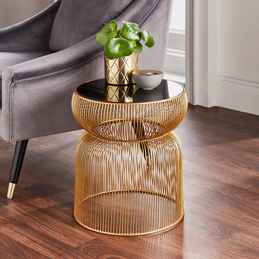 Curve Gold & Black Glass Round Lamp Table