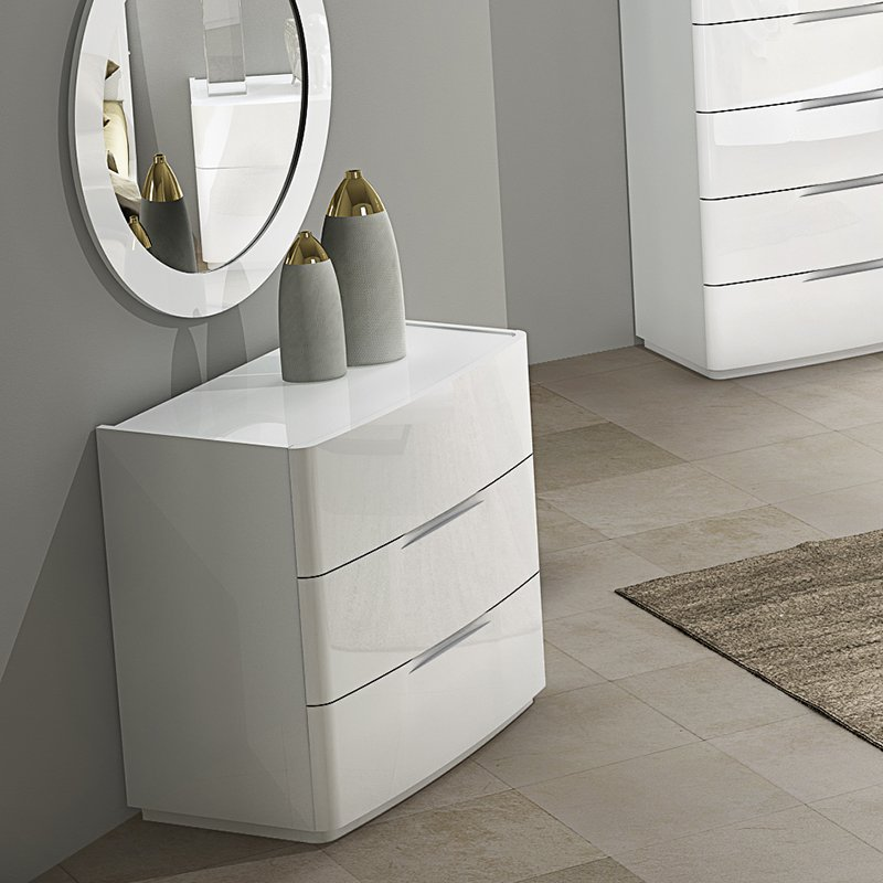 Elbas White High Gloss 3 Drawer Chest of Drawers