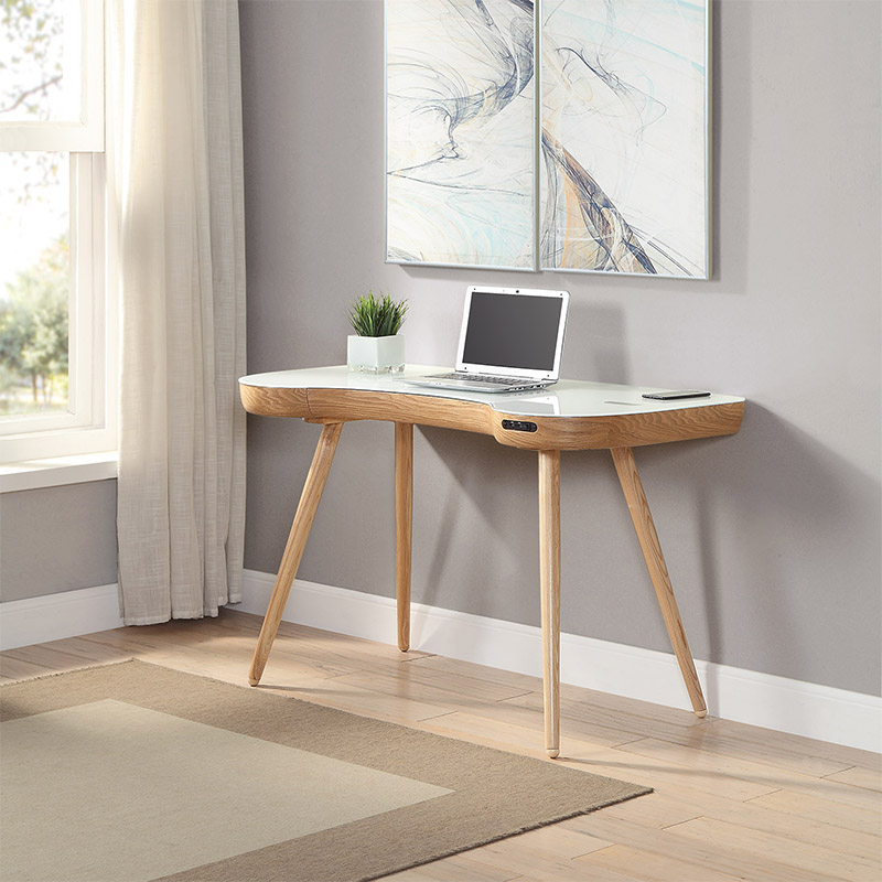 San Francisco Ash Wood & White Glass Smart Desk With SPEAKERS & Wireless Charger