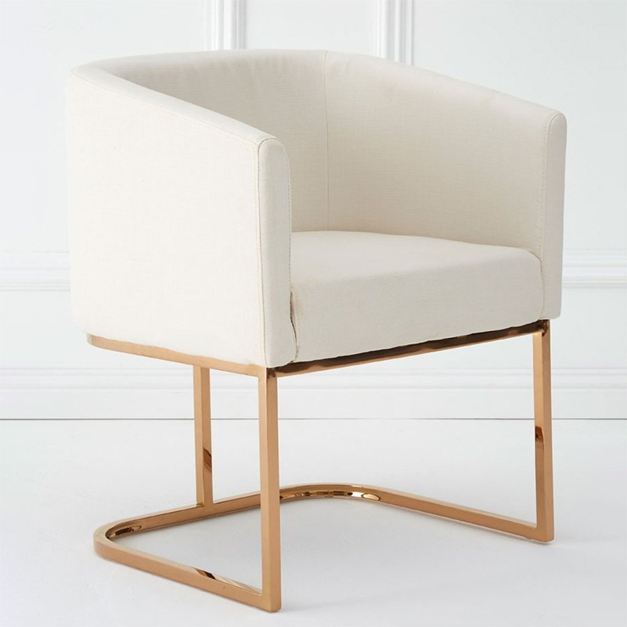 Millen White Rose Gold Dining Chair