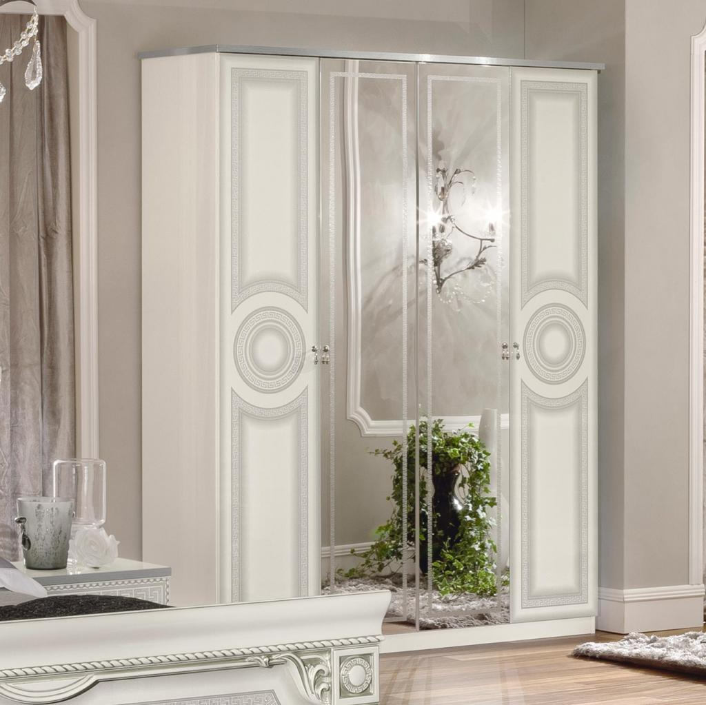 Italian MEDUSA White High Gloss & Silver 4dr Mirrored Wardrobe