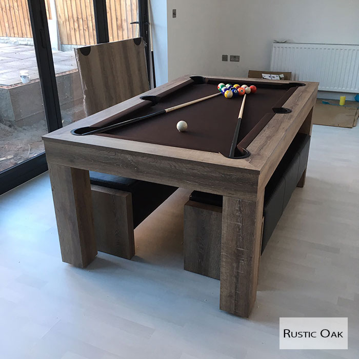 Milano Pool & Entertainment Dining Table *Rustic Oak Wood Effect* (Seats 8-10)