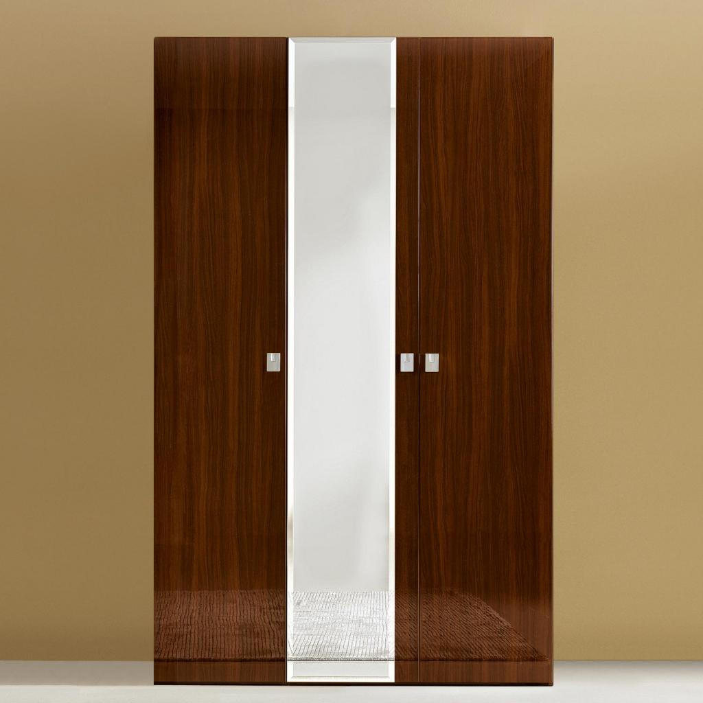 Caligula White or Walnut High Gloss/Mirrored 3 Door Wardrobe