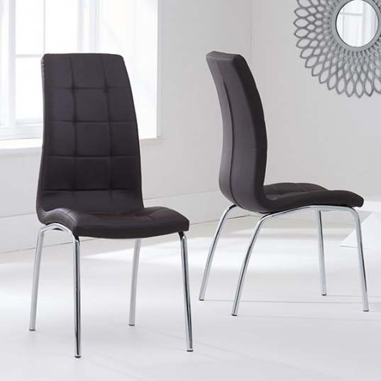 California Brown Faux Leather Dining Chair