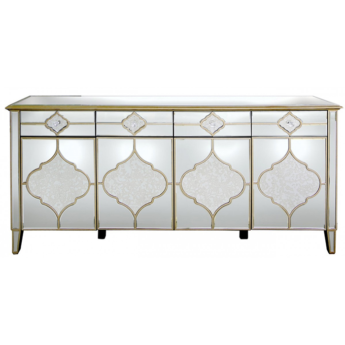 Mackenzie Mirrored Antique Trim Large 4 Drawer 4 Door Sideboard