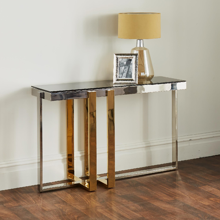 Nexus Gold & Silver Glass Console Table