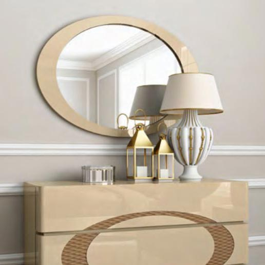 Eclipse High Gloss or Wood Veneer Oval Mirror