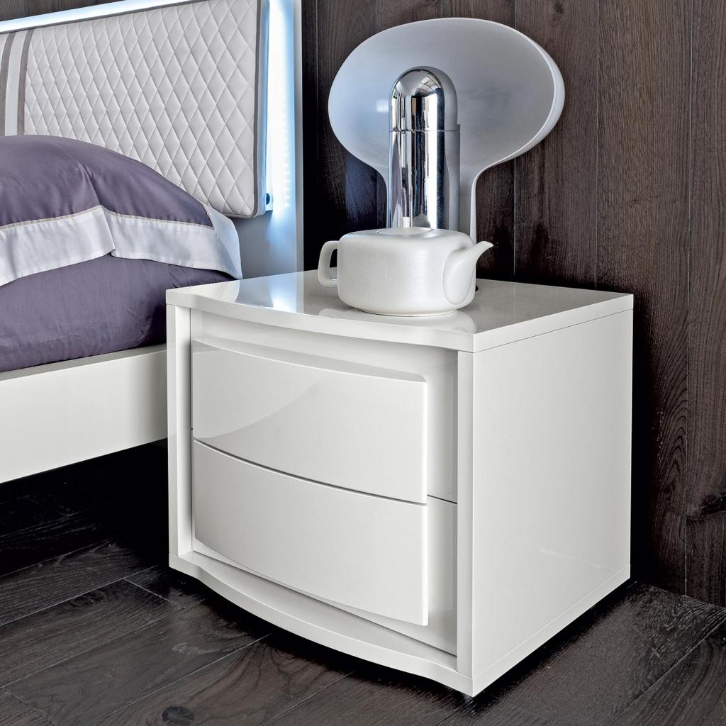 Bianca White High Gloss 2 Drawer Bedside Cabinet