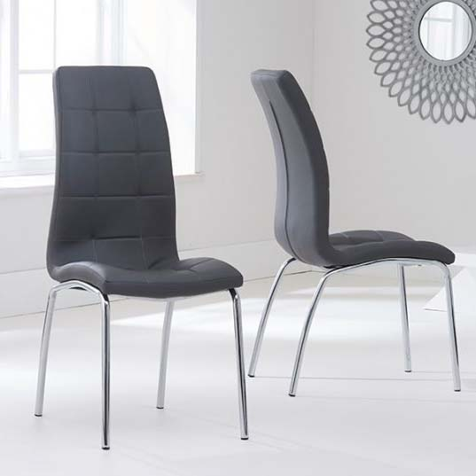 California Grey Faux Leather Dining Chair
