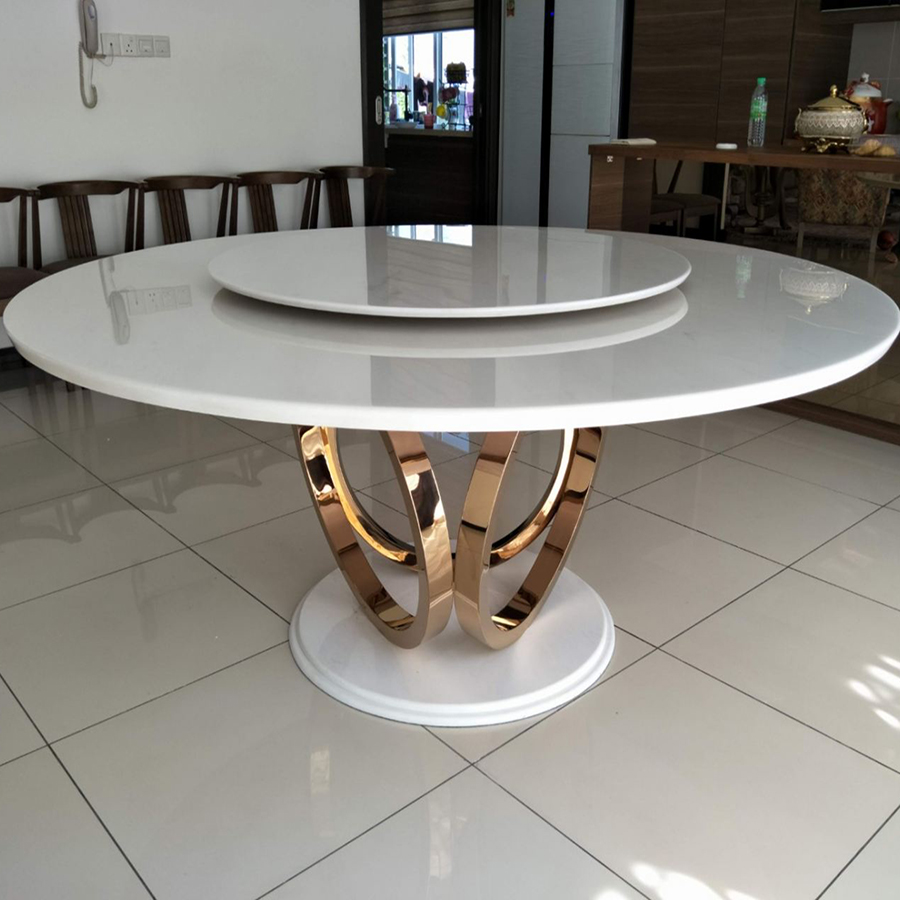 Sivec White Marble 1.8m Dining Table - Macaron Gold Base