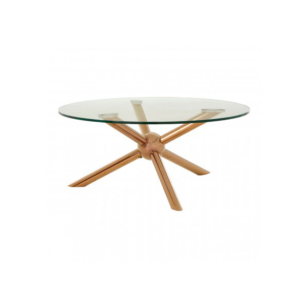 Novo Glass & Rose Gold Coffee Table