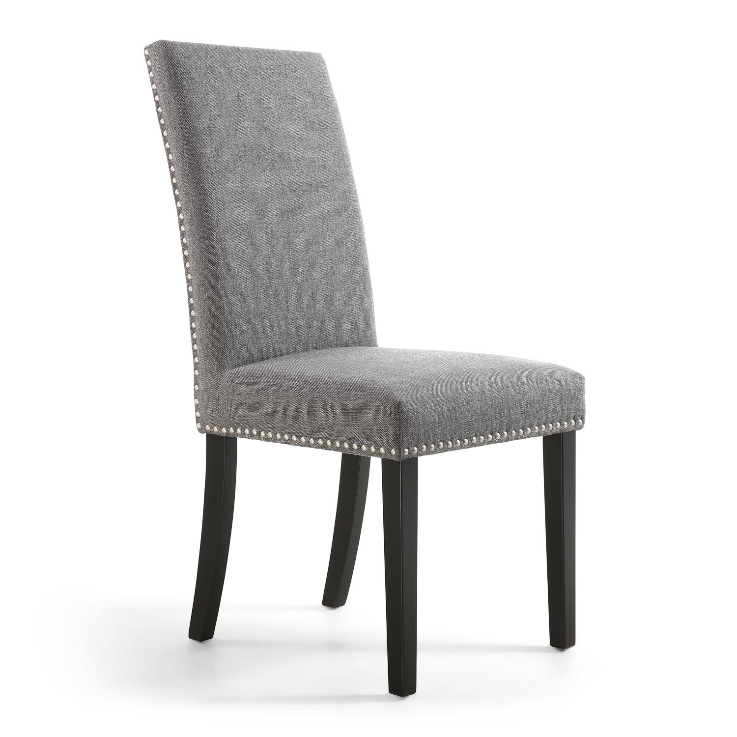 Reed Steel Grey Linen Studded Dining Chair (Black Legs)