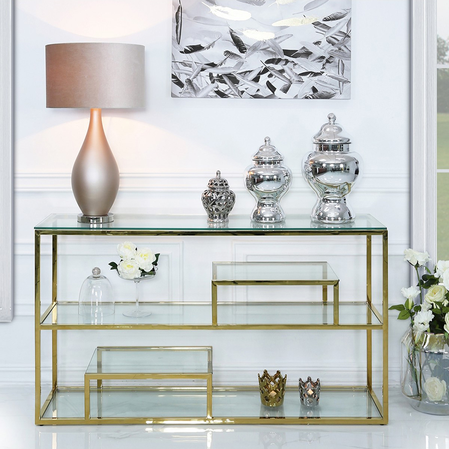 Harley Glass & Gold Trim Tiered Console Table