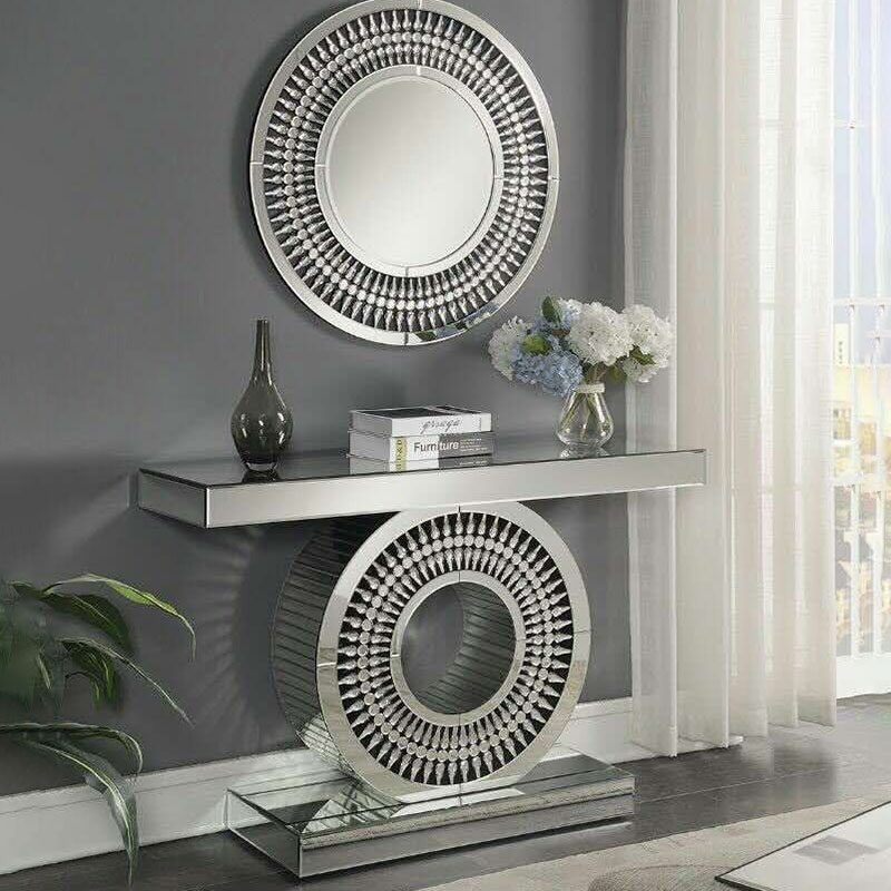 Crawford Mirrored Crystal Console Table With Round Mirror