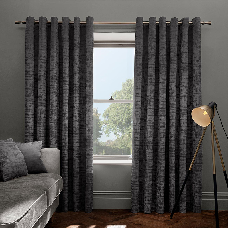 Naples Smoke Velvet Readymade Eyelet Curtain