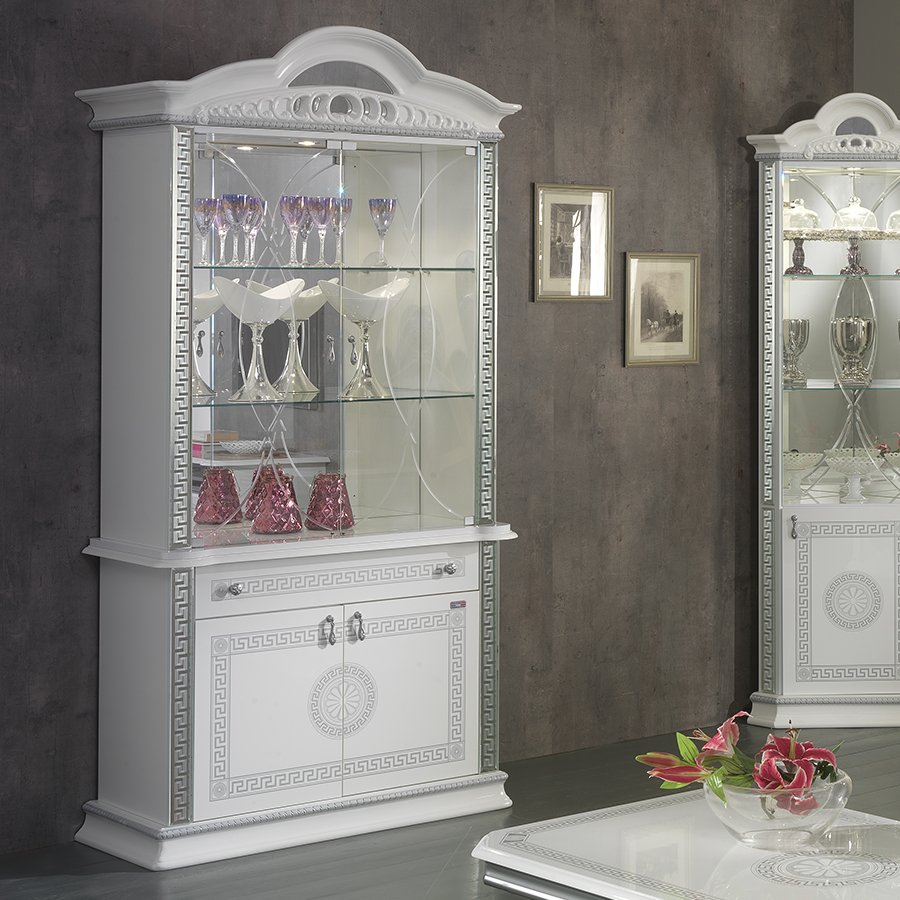 Vittorio White & Silver High Gloss 2 Door Display Cabinet