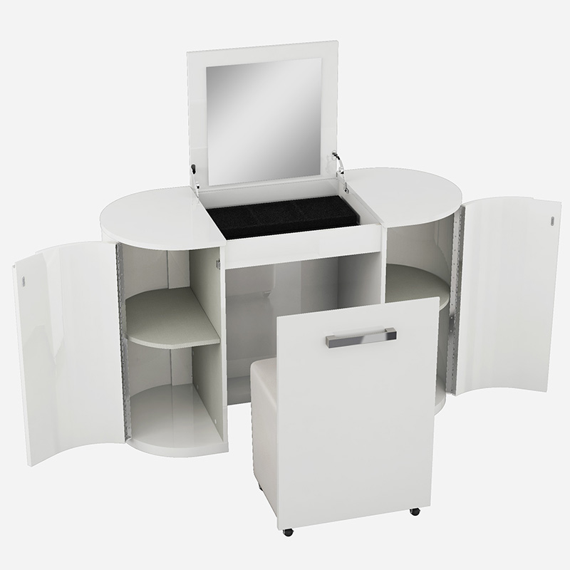 Voyage White High Gloss Dressing Table With Flip-up Mirror & Chair