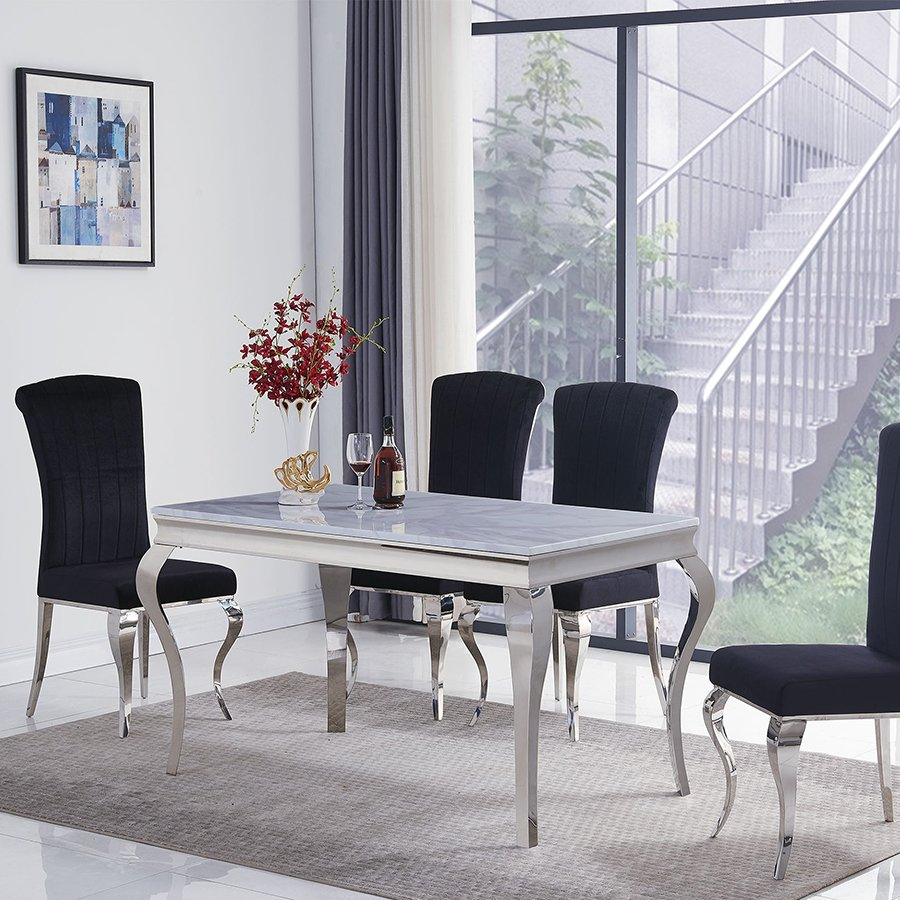Liyana 1.4m Small Grey Marble 5 Piece Dining Set - Black Liyana Chairs