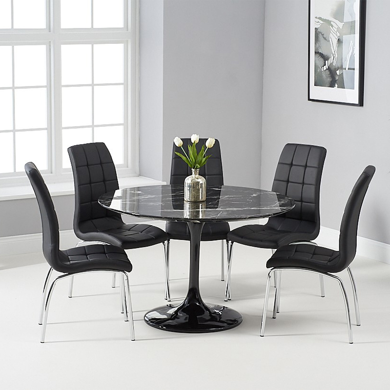 Brittney California 1.2m Round Black Marble 5 Piece Dining Table Set Black Chairs