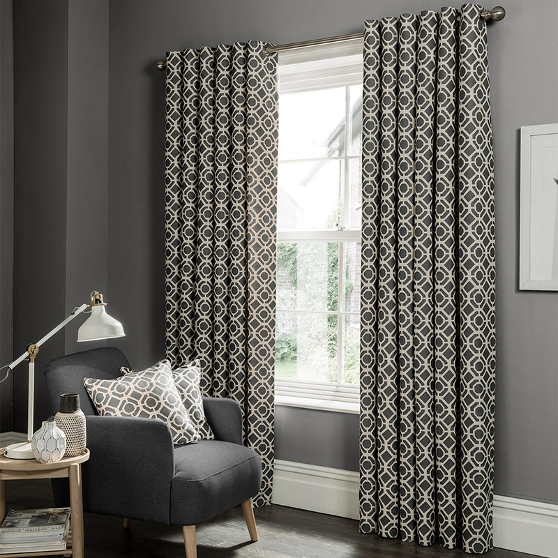 Castello Charcoal Geometric Readymade Eyelet Curtain