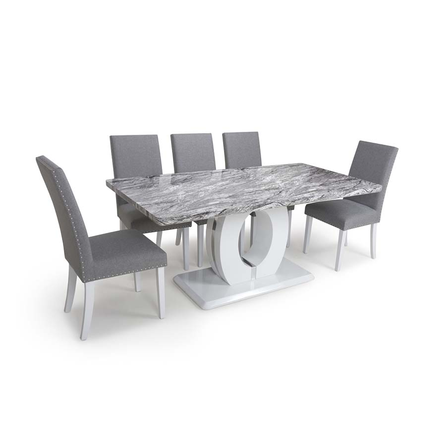 Nepal Radnor Grey Marble & White High Gloss 1.8m 7 Piece Dining Set
