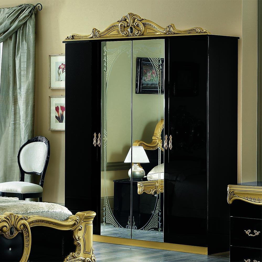 Bellissima Black High Gloss & Gold or Silver 4dr Mirrored Wardrobe