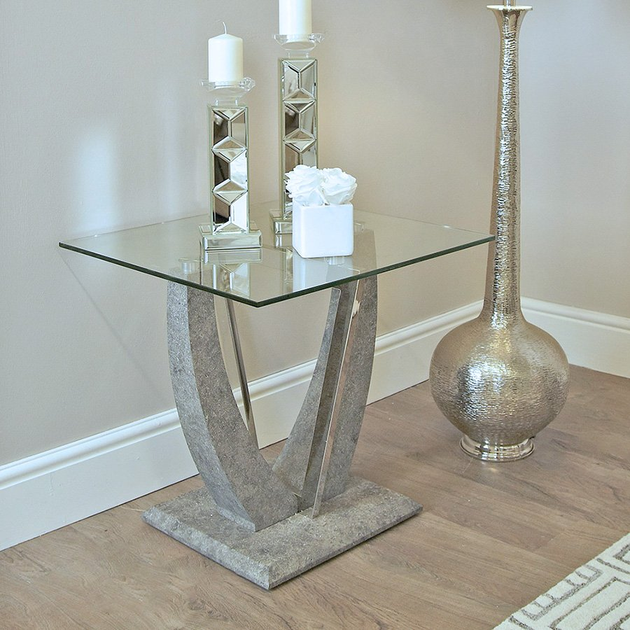 Lex Glass & Grey Stone Lamp Table