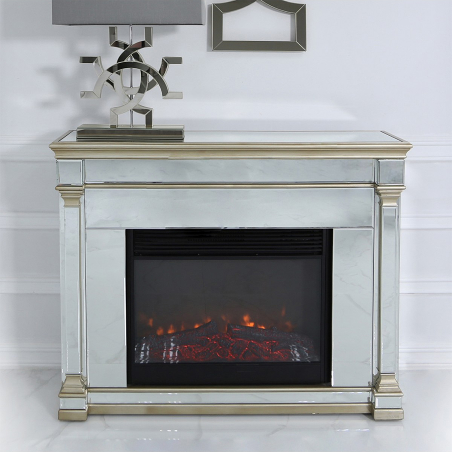 Andreas Electric Fire & Champagne Gold Trim Mirrored Surround