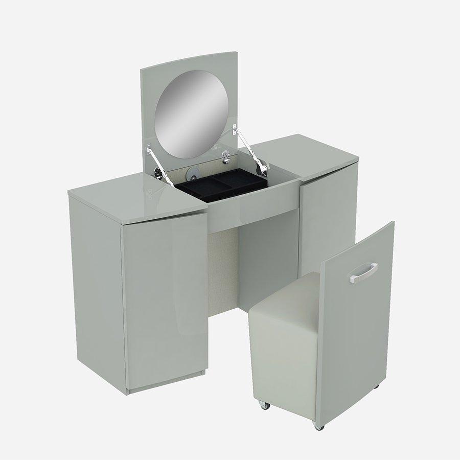 Lopez Cool Grey High Gloss & Brushed Steel Vanity Unit With Stool & Flip-up Mirror