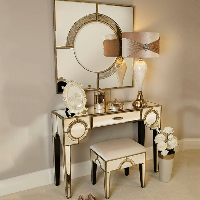 Galaxy Mirrored Champagne Trim 1 Drawer Dressing Table
