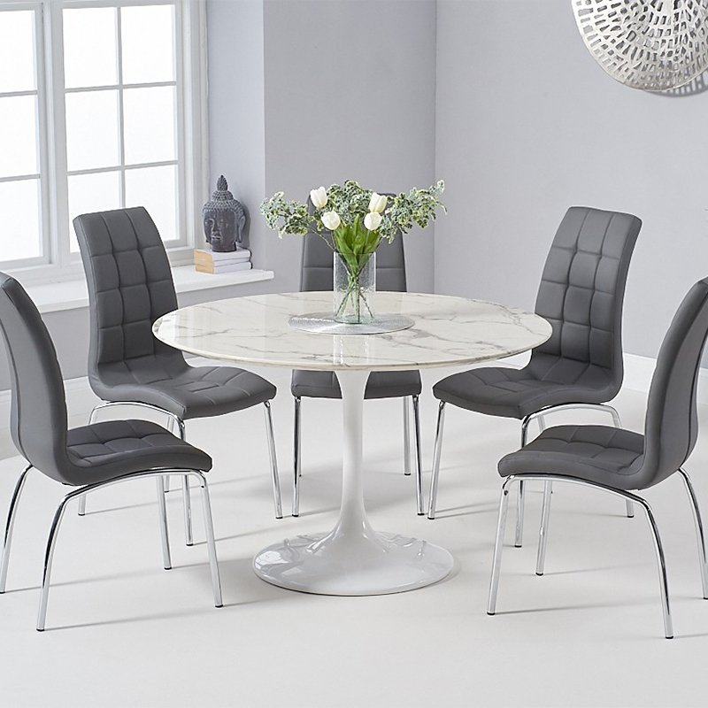 Brittney California 1.2m Round White Marble 5 Piece Dining Table Set Grey Chairs
