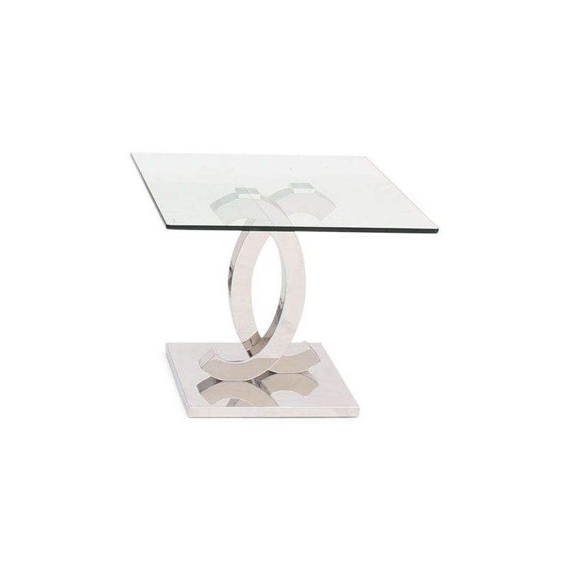 Coco Square Glass & Chrome Lamp Table