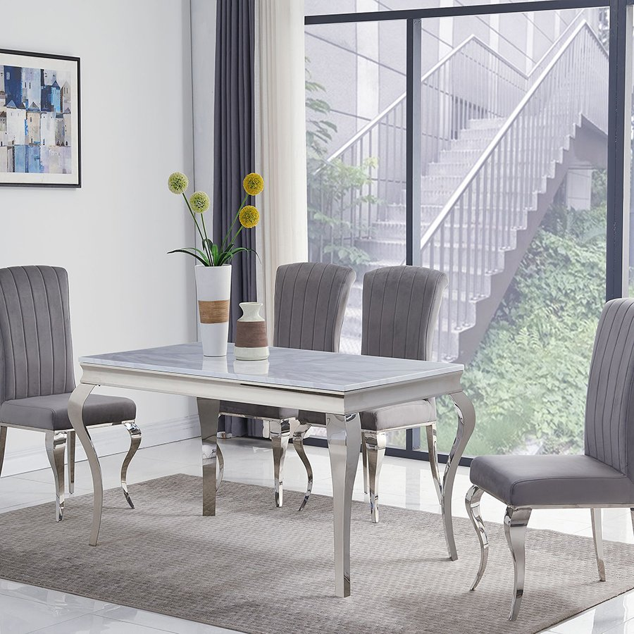 Liyana 1.4m Small Grey Marble 5 Piece Dining Set - Grey Liyana Chairs