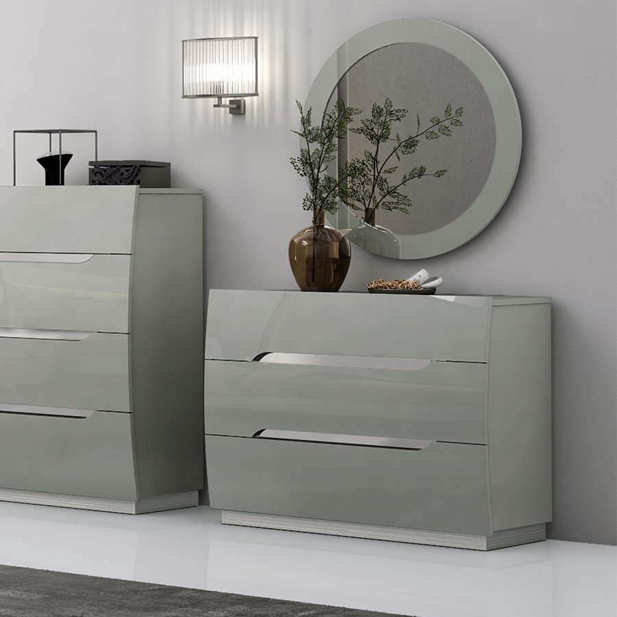 Lopez Cool Grey High Gloss & Brushed Steel 3 Drawer Chest of Drawers