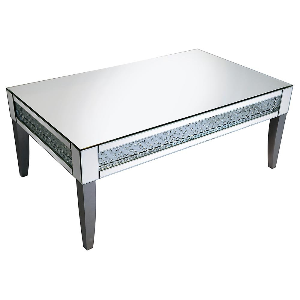 Rhombus Crystal Mirrored Silver Leg Coffee Table