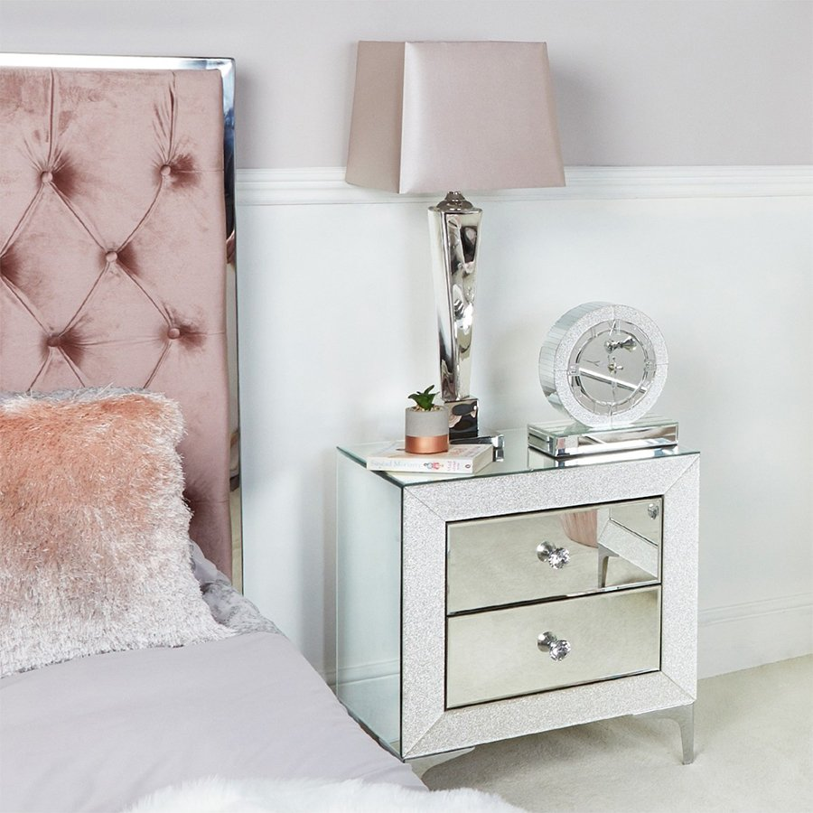 Amy Mirrored Champagne Sparkle 2 Drawer Bedside Cabinet
