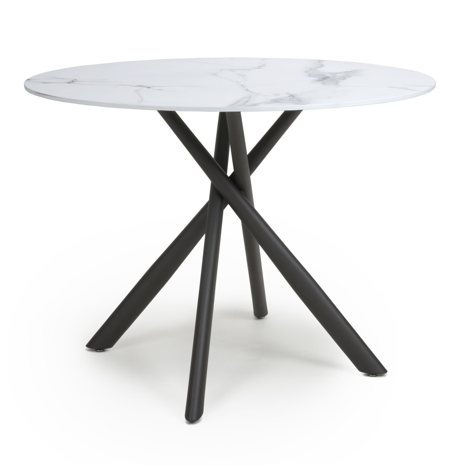 Avensis 1m Round Marble Effect White Glass Dining Table