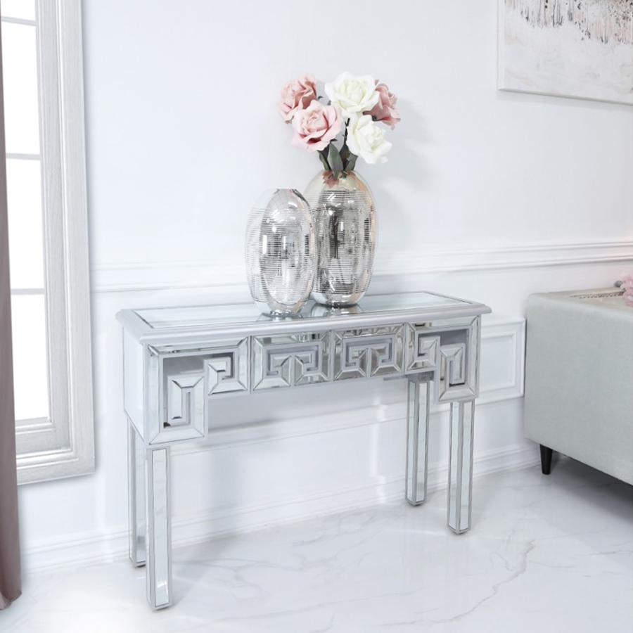 Hadley Silver Mirrored Geometric 1 Drawer Console Table